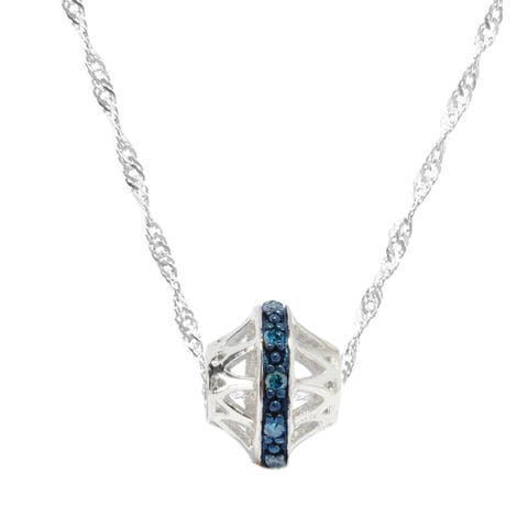 Sterling Silver 0.12ctw Diamond Circle Pendant Necklace