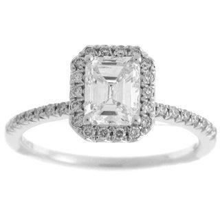 Azaro 14k White Gold 1 1/4ct TDW Diamond Emerald Cut Halo Engagement Ring (H-I, SI2)