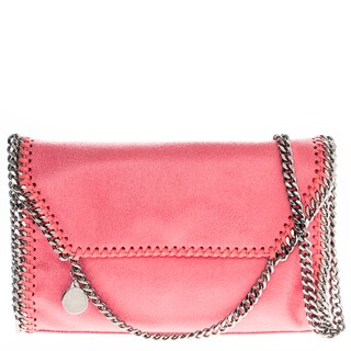 Stella McCartney Falabella Pink Faux Leather Foldover Clutch Handbag