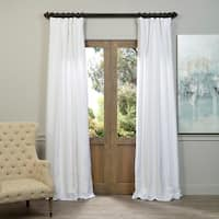 Exclusive Fabrics Ice White Vintage Faux Textured Dupioni Silk Curtain Panel 96-Inch (As Is Item)
