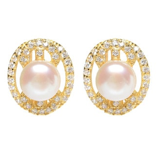 Luxiro Gold Finish Sterling Silver Freshwater Pearl Cubic Zirconia Earrings