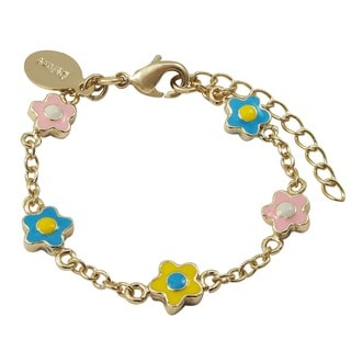 Luxiro Gold Finish Multi-color Enamel Flower Children's Bracelet