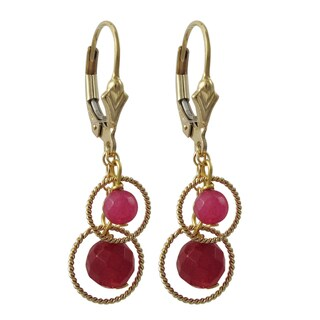 Luxiro Gold Filled Sterling Silver Red Semi-precious Gemstone Dangle Earrings
