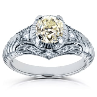 Annello Platinum 1 1/2ct TDW Old Mine Cut Cushion Diamond Antique Ring (M, VVS2) - Size 7