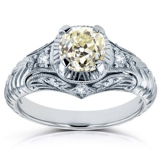 Annello by Kobelli Platinum 1 1/2ct TDW Old Mine Cut Cushion Diamond Antique Ring