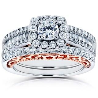 Annello by Kobelli 14k Two Tone Rose Gold Profile 7/8ct TDW Diamond Halo Wedding Rings Set