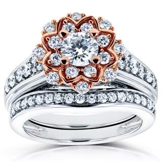 Annello by Kobelli 14k Two Tone Gold 1 1/6ct TDW Diamond Flower Wedding Rings Set (H-I, I
