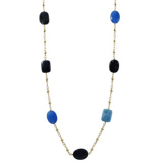 Luxiro Gold Finish Blue Sodalite and Jade Semi-precious Gemstone Necklace