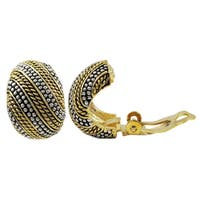 Luxiro Two-tone Gold Finish Textured Curve Huggie Clip-on Earrings - Silver