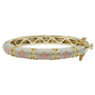 Luxiro Gold Finish White and Pink Enamel Flower Children's Bangle Bracelet