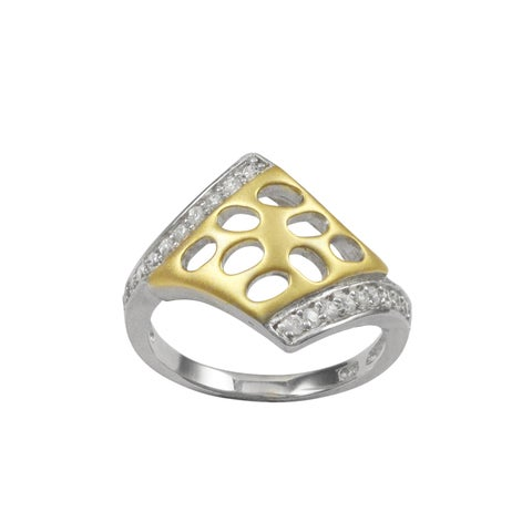 Luxiro Sterling Silver Two-tone Cubic Zirconia Cutout Right-hand Ring