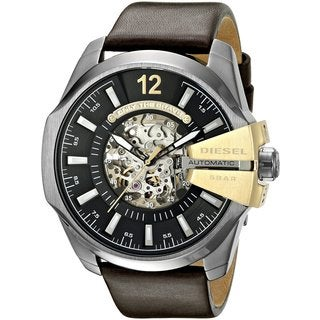 Diesel Men's DZ4379 Chief Automatic Skeleton Dial Olive Leather Watch