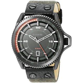 Diesel Men's DZ1728 Rollcage Analog Black Dial Distressed Black Fabric Watch
