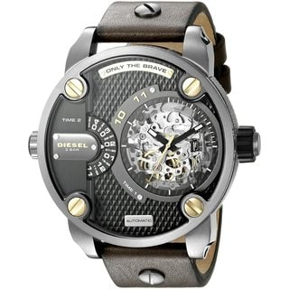 Diesel Men's DZ7364 Daddies Series Automatic Dual Zone Black Skeleton Dial Olive Leather Watch