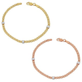 Fremada 14k Gold Stylish Bismark with White Cube Station Bracelet