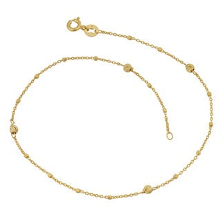 Fremada 14k Yellow Gold Cube and Diamond-cut Bead Station Anklet