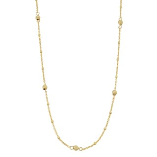 Fremada 14k Yellow Gold Cube and Diamond-cut Bead Station Necklace (18 or 24 inches)