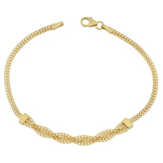 Link to Fremada 14k Yellow Gold Stylish Braided Curb Link Bracelet (7.5 inches) Similar Items in Bracelets