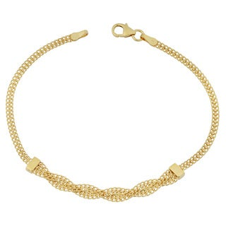Fremada 14k Yellow Gold Stylish Braided Curb Link Bracelet (7.5 inches)