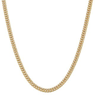 Fremada 14k Two-tone Gold 2.4-mm Pave Curb Necklace (20 inches)