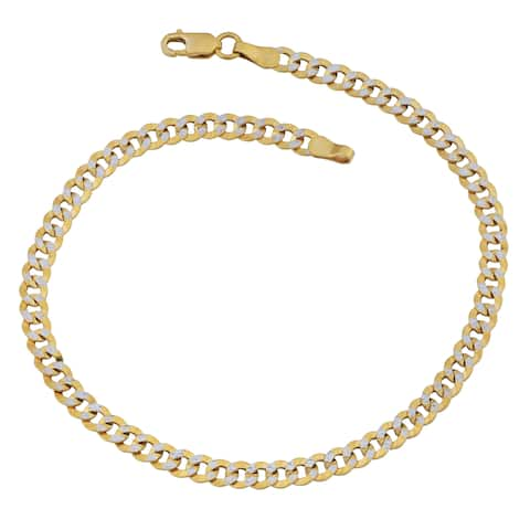 Fremada 14k Two-tone Gold 4-mm Pave Curb Link Bracelet (8.5 inches)