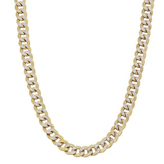 Fremada 14k Two-tone Gold 4-mm Pave Curb Link Necklace (20 inches)