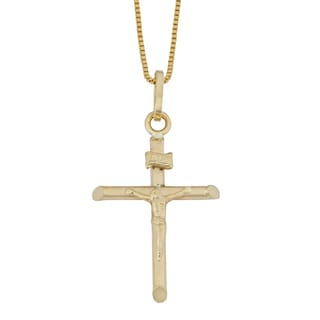 Fremada 10k Yellow Gold Crucifix Pendant with Complementary Box Chain Necklace