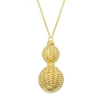 Fremada 14k Yellow Gold Diamond-cut Graduated Beads Drop Necklace (17 inches)