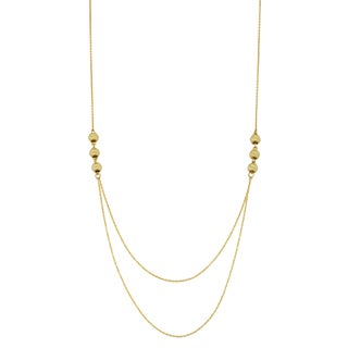 Fremada 14k Yellow Gold Diamond-cut Bead Layer Necklace (18 inches)