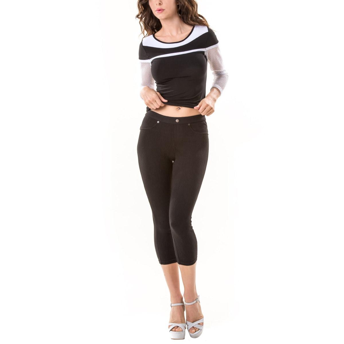 8ec0c0d8094a86 Details about Memoi Women's Chino Capri Legging
