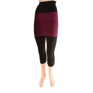 Memoi Women's Stripes/ Flatknit Capri Skegging