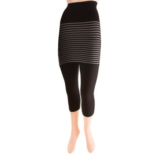 Memoi Women's Stripes/ Flatknit Capri Skegging