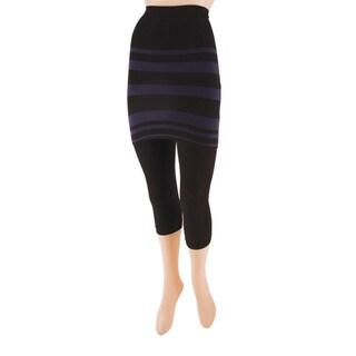 Memoi Women's Variegated Stripes/ Flatknit Capri Skeggings