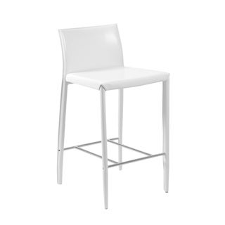 Shen-B White Leather Bar Stool (Set of 2)