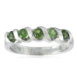 Sterling Silver 3mm Chrome Diopside Spiral Stack 5-stone Band Ring