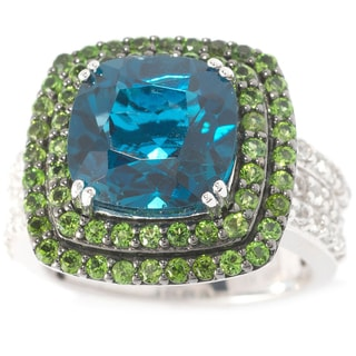 Sterling Silver 6.47ct London Blue Topaz, Chrome Diopside and White Topaz Halo Ring