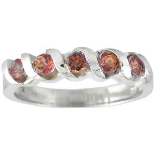 Sterling Silver 3mm Fire Topaz Spiral Stack 5-stone Band Ring