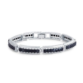 Sterling Silver 10ct Princess Cut Black Spinel Bracelet