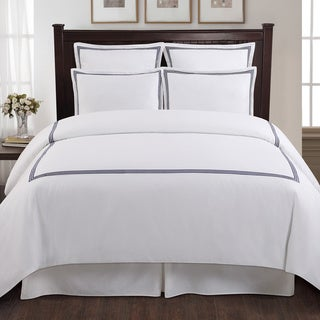 Echelon Home Three Line Hotel Collection Cotton Sateen 3-piece Duvet Cover Set Size Full/Queen in Light Grey(As Is Item)