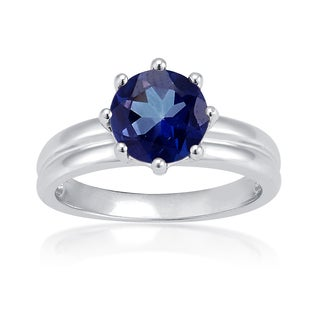 Sterling Silver Blue Tanzanite Topaz Solitaire Ring