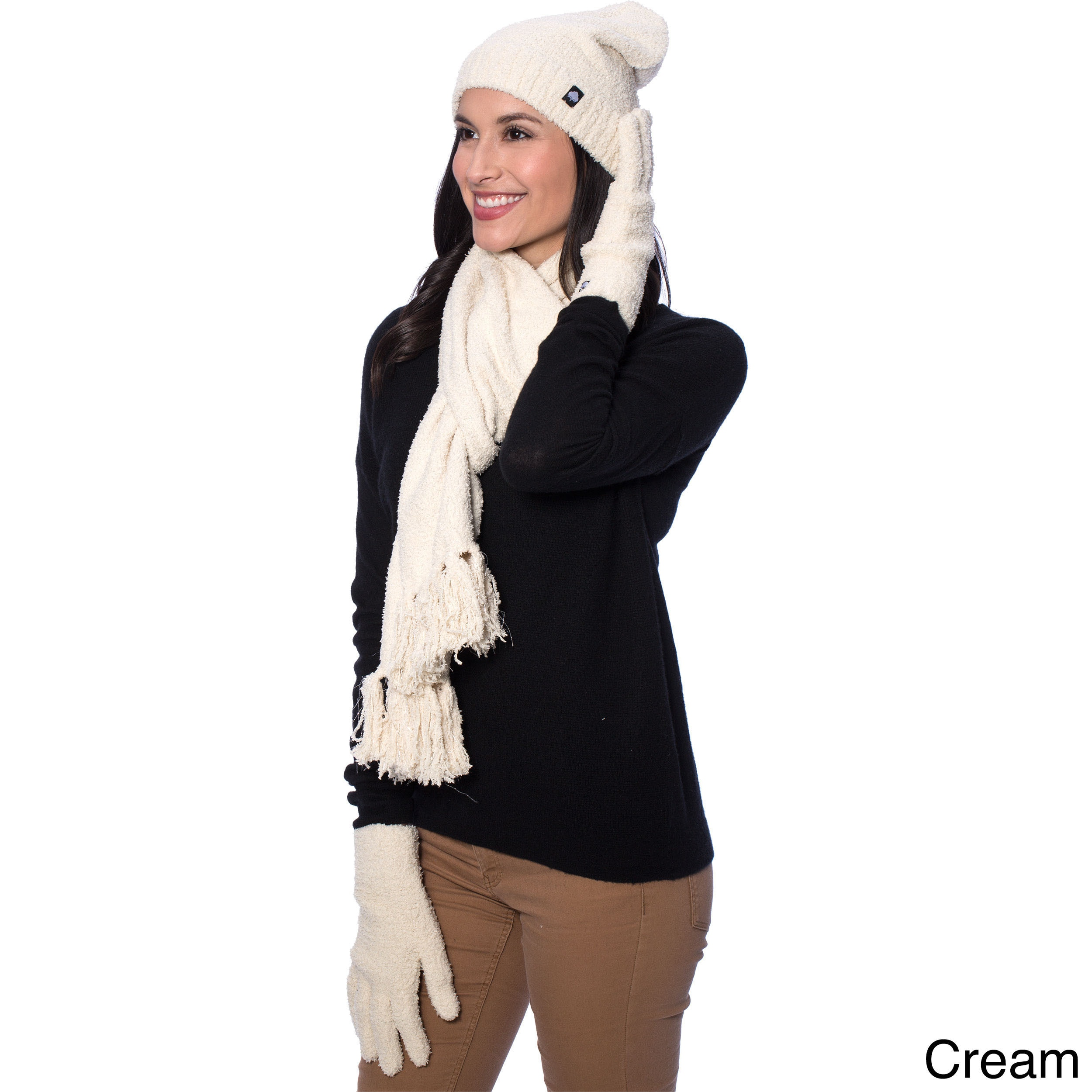 AEGEAN Women's Winter Sparkle Scarf, Hat and Gloves Gift ...