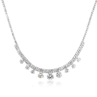 Rhodium-plated Brass Hanging Crystal Tennis Necklace