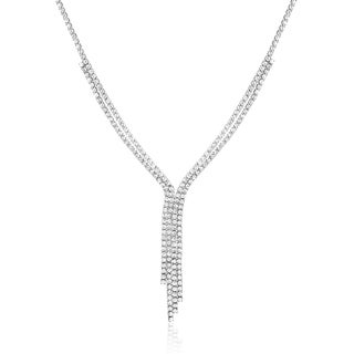 Rhodium-plated Brass Dangling Crystal Tennis Necklace