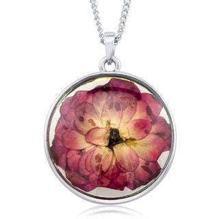 Rhodium-plated Brass Rose Flower Round Glass Necklace