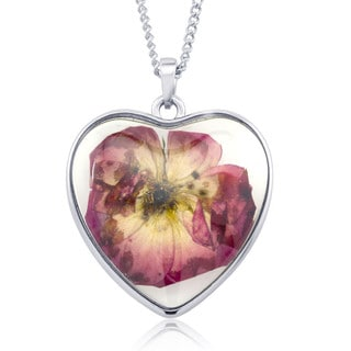 Rhodium-plated Brass Rose Flower Heart Glass Necklace