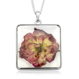 Rhodium-plated Brass Rose Flower Square Glass Necklace