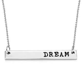 Rhodium-plated Brass 'Dream' Bar Necklace