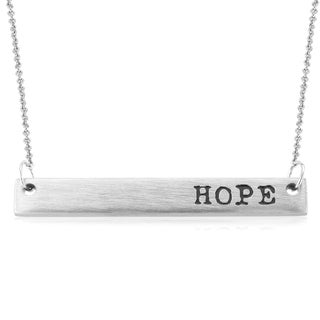 Rhodium-plated Brass 'Hope' Bar Necklace