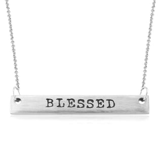 Rhodium-plated Brass Matte Finish 'Blessed' Bar Necklace