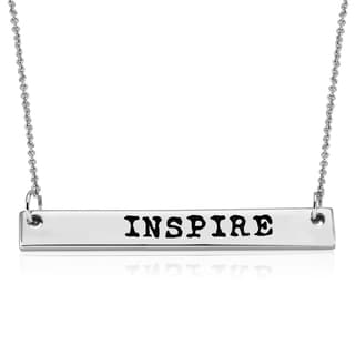 Rhodium-plated Brass 'Inspire' Bar Necklace